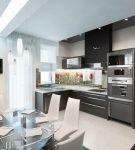 Освещение на кухне с дизайном хай-тек