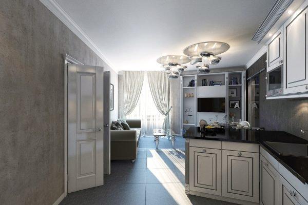 Серые обои на кухне с классической мебелью