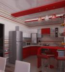 Красные детали в светлом интерьере хай-тек