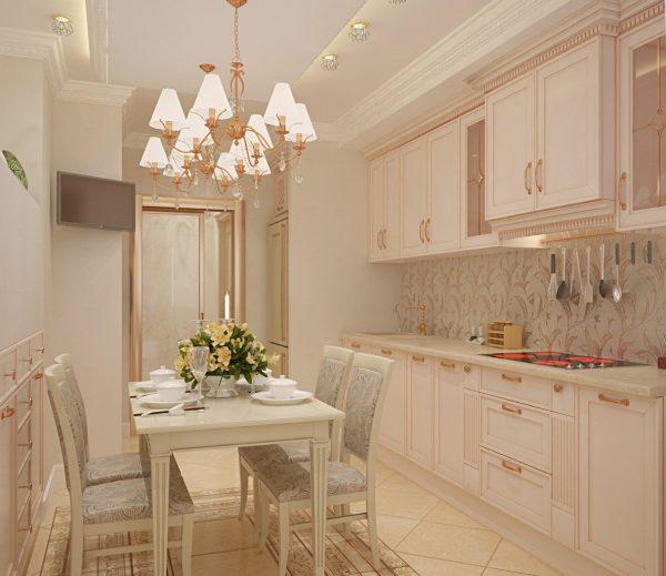 Кухня в классическом стиле со светлой мебелью
