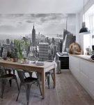 Фотообои на кухне с белой мебелью