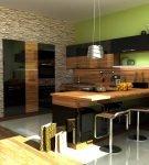 Светло-зелёные обои на большой кухне