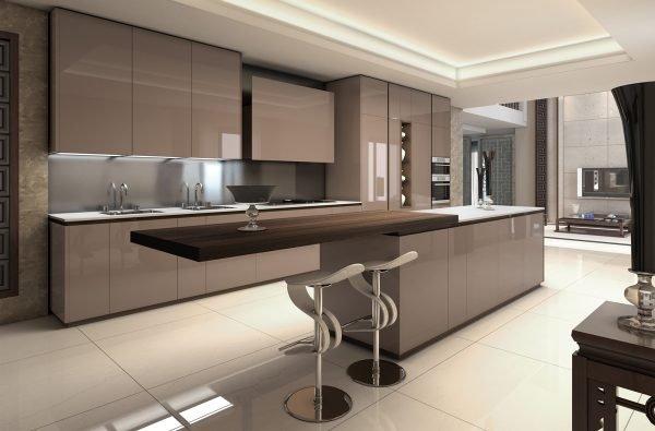 Двухцветная мебель цвета капучино на кухне