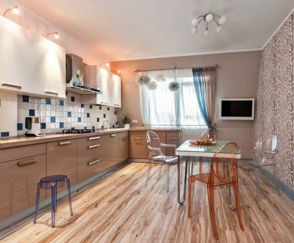 Отделка стен цвета капучино на кухне