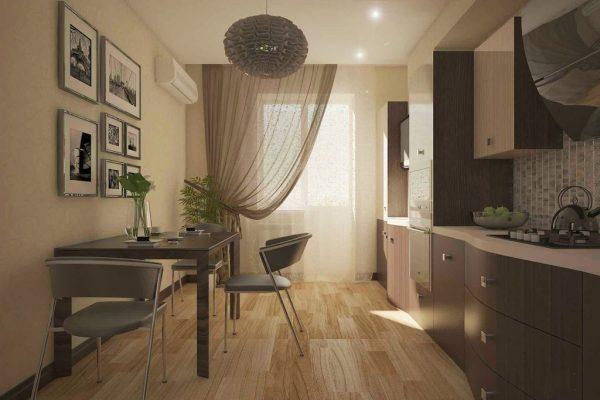 Тюль цвета капучино на кухне со стильным гарнитуром