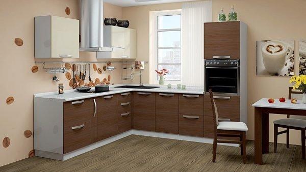 Интерьер кухни в оттенках коричневого