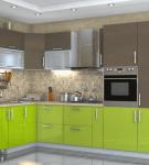 Сочетание салатового и цвета капучино в обстановке кухни