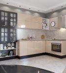 Небольшой современный гарнитур и освещение на кухне