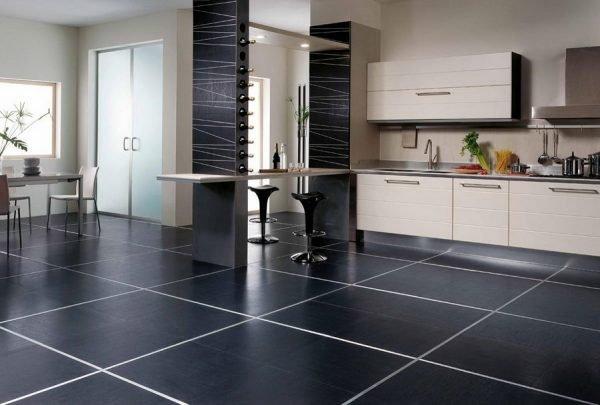 Керамическая плитка в тёмной кухне