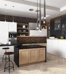 Кухня в стиле лофт со столом-островом