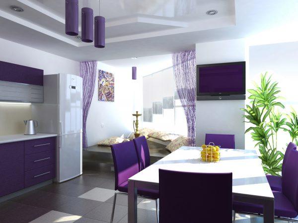 Кухня-столовая в бело-фиолетовых оттенках