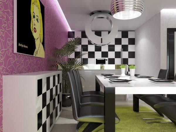 Кухня поп-арт с узорами и ярким декором