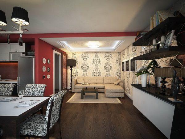 Кухня в чёрно-бело-красной гамме