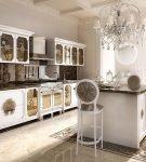Шикарный кухонный интерьер в стиле ар-деко