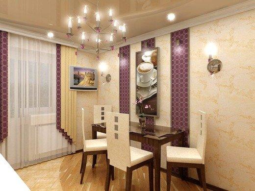 Сочетание бежевого и пурпурного оттенков в интерьере кухни