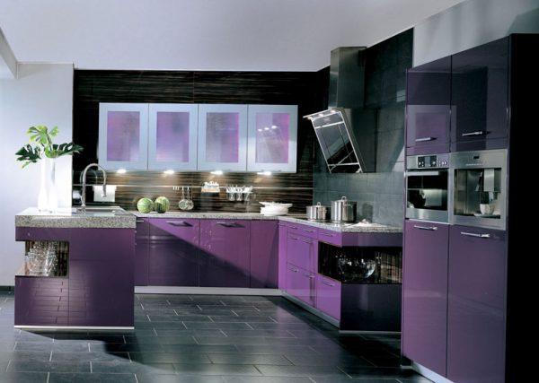 Тёмно-серый пол на кухне с пурпурным гарнитуром