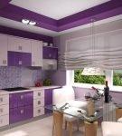 Бело-фиолетовая мебель в кухне-столовой с римскими шторами
