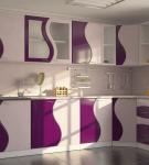 Гарнитур с оригинальными бело-фиолетовыми узорами
