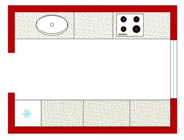 Двухрядная или параллельная планировка кухни