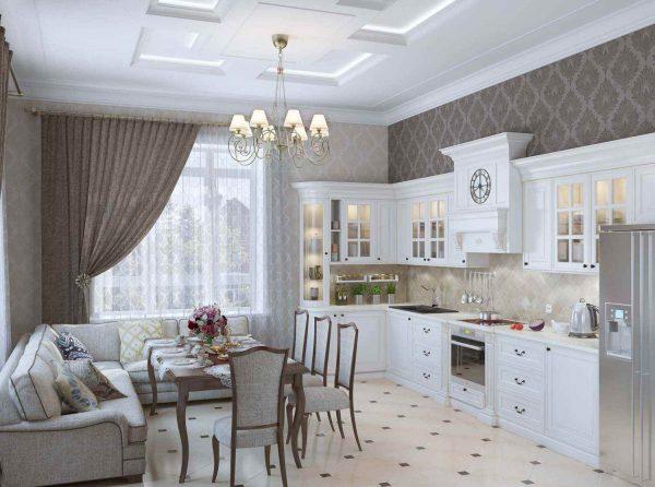 Квадратная кухня в классическом стиле с зоной отдыха