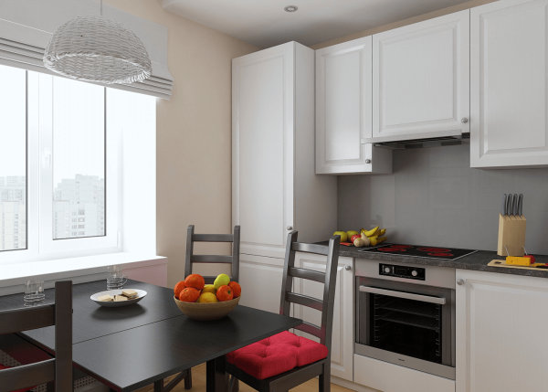 Белый гарнитур на небольшой квадратной кухне