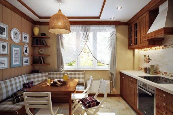 Кухня в стиле кантри с зоной отдыха