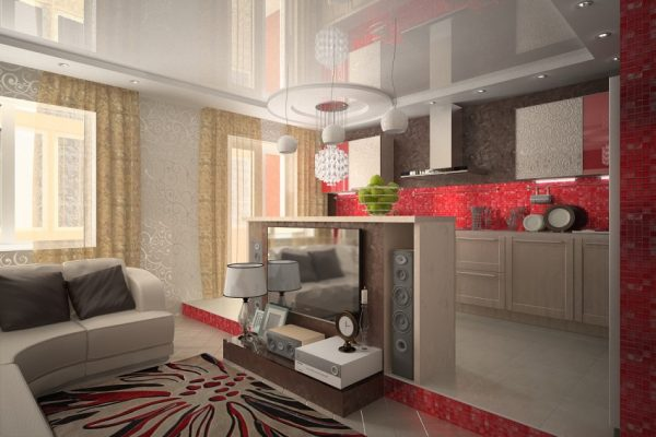 Кухня-гостиная с подиумом и яркой отделкой