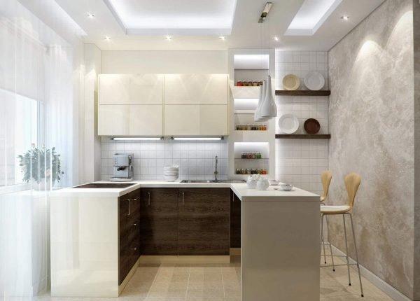 Освещение на светлой небольшой кухне
