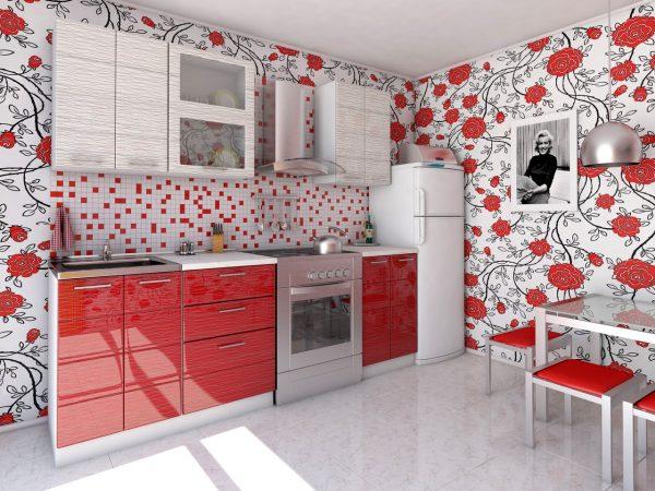 Яркие обои на кухне с бело-красным гарнитуром