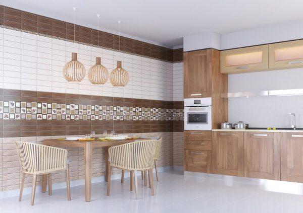Отделка стены панелями на большой кухне