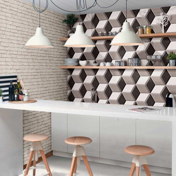3D плитка в дизайне небольшой кухни