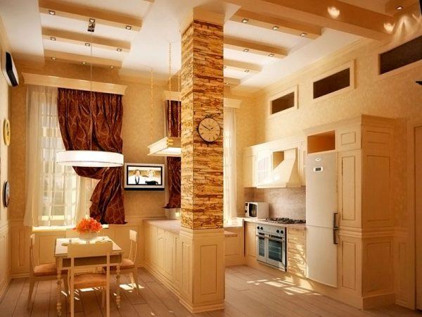 Кухня в бежевых тонах с барной стойкой