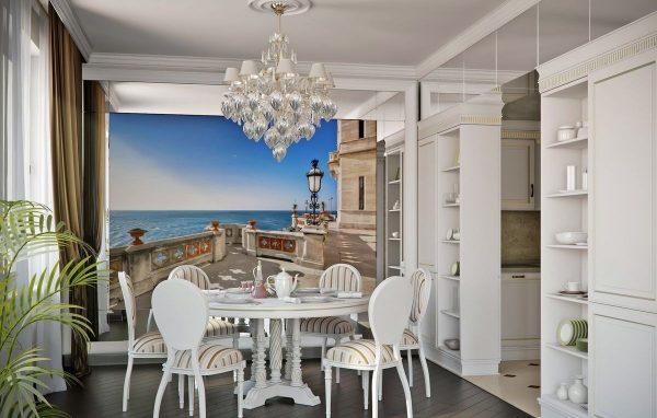 Фотообои в обеденной зоне на большой кухне в классическом стиле