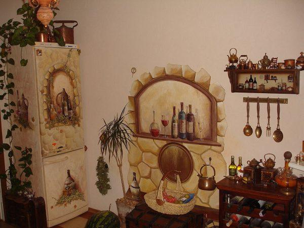 Оригинальный декупаж стен на кухне