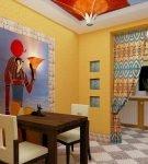 Жёлтая стена с панно на кухне