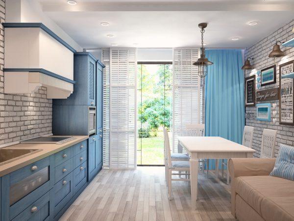 Кухня с потолком чуть светлее стен