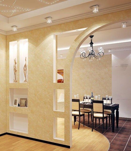 Стена с нишами и проём из гипсокартона на кухне