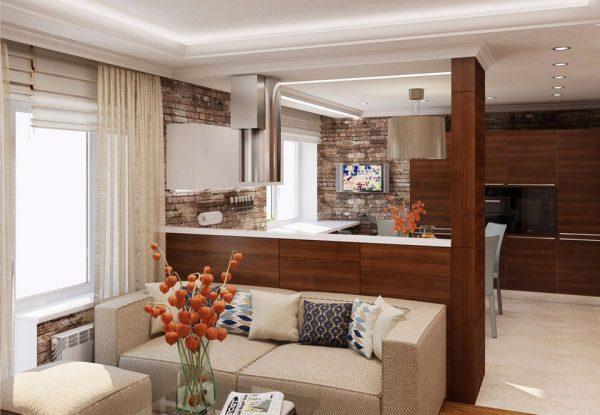 Кухня-гостиная с барной стойкой и диваном