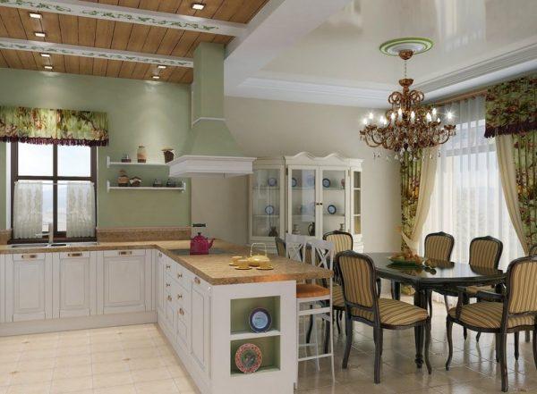 Каменная столешница барной стойки на кухне