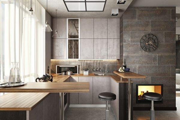 Барная стойка с металлическими ножка в кухне-гостиной лофт