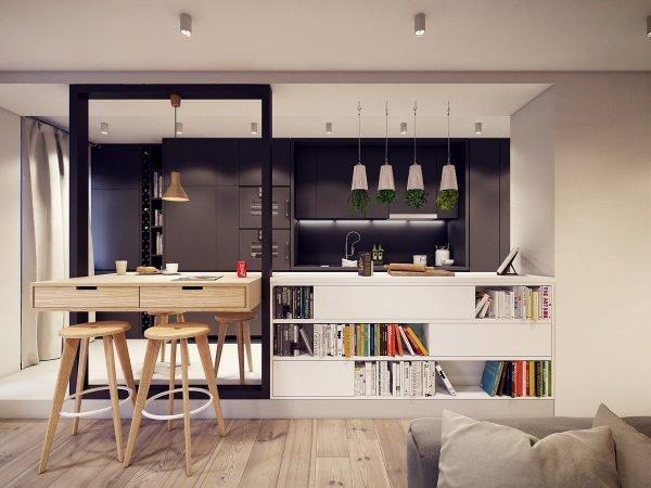 Книжные полки в стильном интерьере кухни-гостиной