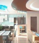 Необычный декор потолка в большой кухне-гостиной