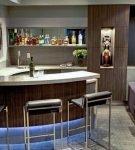 Барная стойка с подсветкой в кухне-гостиной