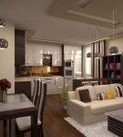 Светлый диван в кухне-гостиной с подвесными люстрами