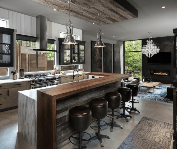 Большая кухня-гостиная лофт в частном доме
