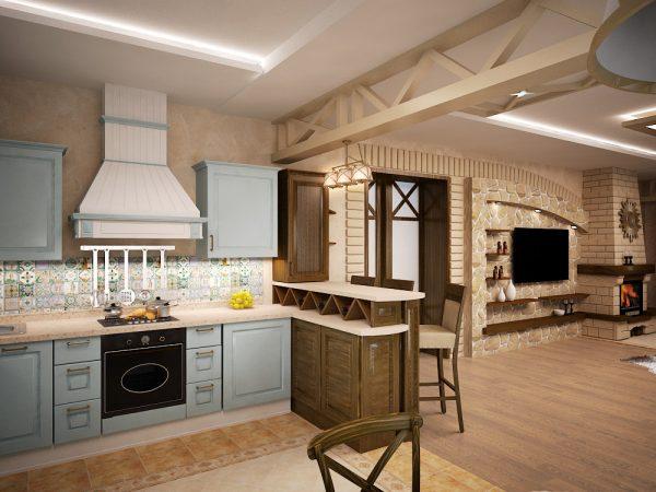 Кухня-гостиная в средиземноморском стиле с деревянной мебелью
