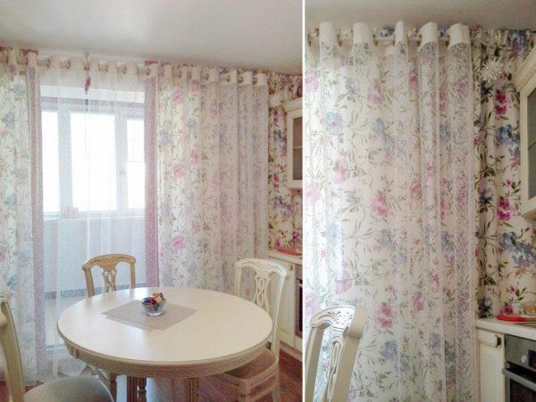 Узорчатые шторы с люверсами на кухне