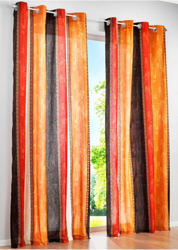 Яркие полупрозрачные шторы с этническим узором