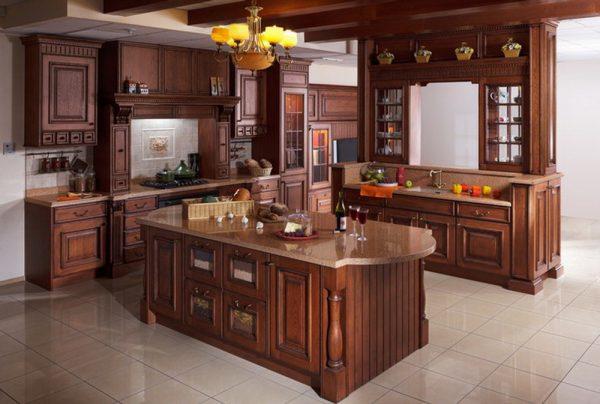 Зонирование кухни мебелью