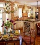 Красивый дизайн кухни-прихожей
